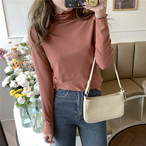 Women slim long-sleeved t-shirt with stand-up collar