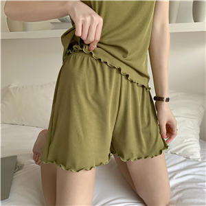 China wholesale cotton agaric laces vest shorts set