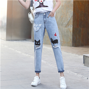 Wholesale ripped loose denim harem pants