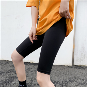 China wholesale solid color cotton five-point yoga leggings