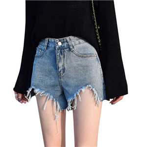 Wholesale high waist slimming loose denim shorts