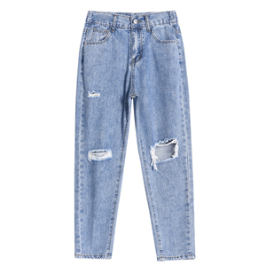 Wholesale elastic high waist denim ripped pants