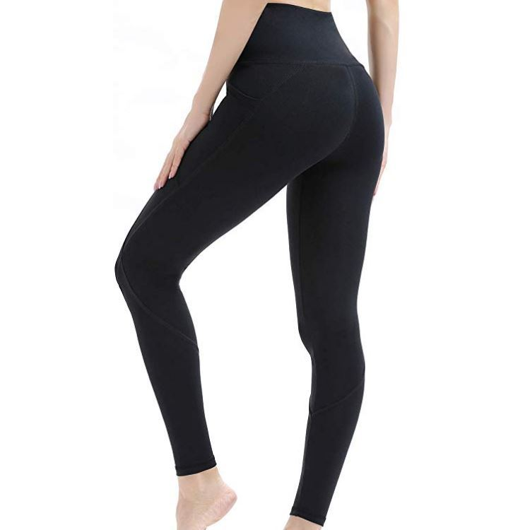High-waist stretch tights running sports solid color leggings