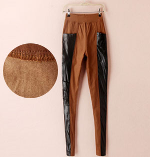PU leather splicing leggings