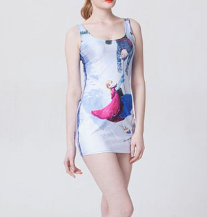 Women digital print tank dress