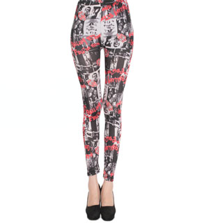 Red letters black leggings wholesale