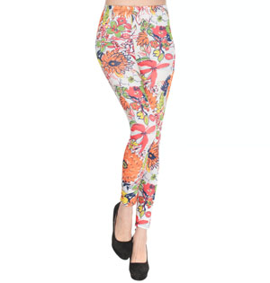 Color vine flower shiny leggings wholesale