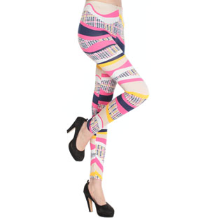 Wavy colored stripes plaid hot leggings wholesale
