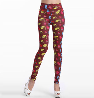 Kitten pattern floral leggings wholesale