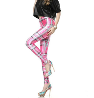 Pink plaid knitted leggings wholesale