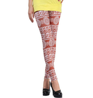 Totem geometric patterns girls brown leggings wholesale