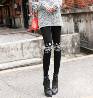 Wool stitching black leggings
