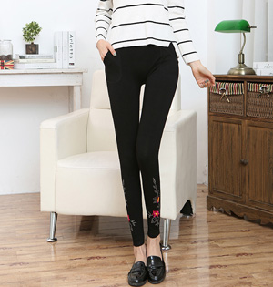 Embroidered modal cotton leggings wholesale