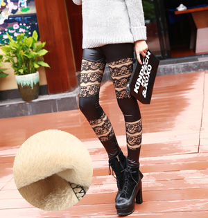 Wholesale leather cashmere leggings