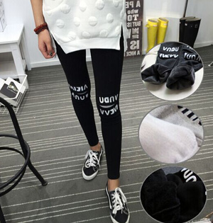 Wholesale letter velvet leggings as pants
