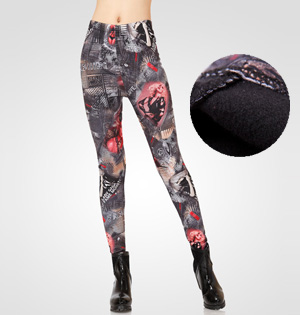 Graffiti velvet leggings wholesale