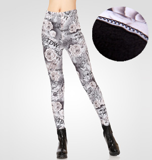 Rose print velvet leggings wholesale