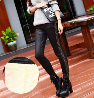 Wholesale leather velvet leggings women