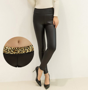 Leather velvet leggings for women