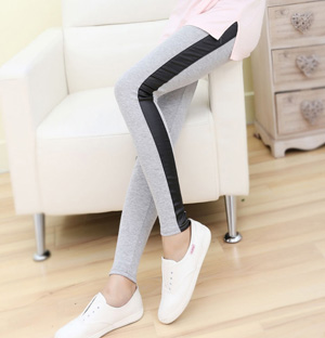 Women stitching leather leggings wholesale