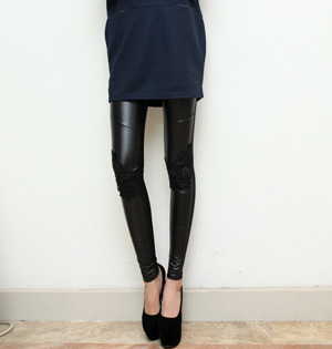 Ladies sexy lace faux leather leggings