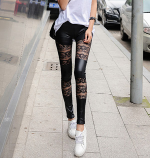 Floral lace leather leggings