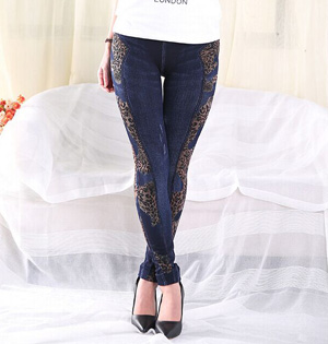 Leopard denim stitching leggings