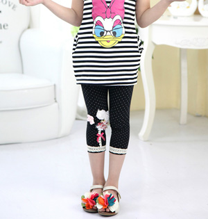 Kids lace cropped leggings wholesale