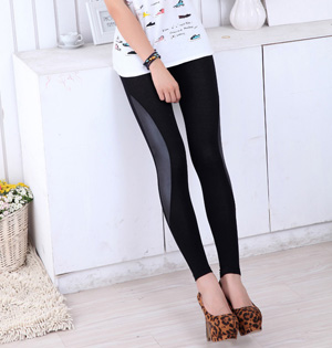 Faux leather stitch leggings wholesale