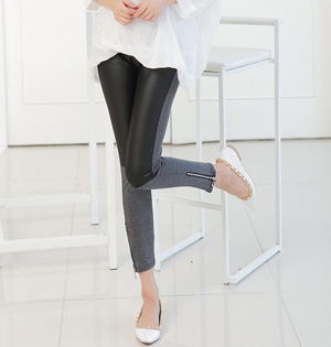 Wholesale women leather stitching leggings
