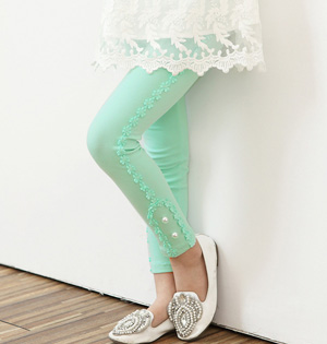 Kids lace panel leggings wholesale